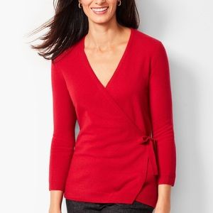 Talbots 100% Pure Cashmere Wrap Sweater Red Sz MP